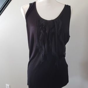 August silk black ruffle blouse tank top xl